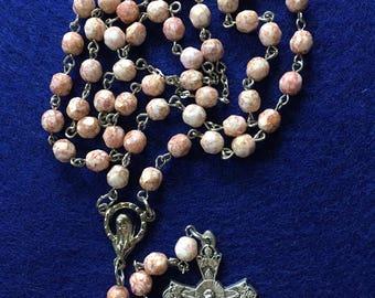 Pink Czech Glass Rosary