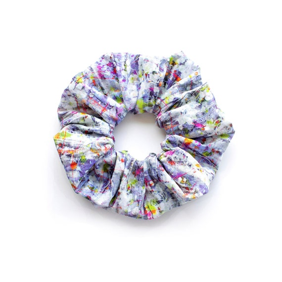 SPRING.  Large Scrunchy in smart subtle tones. Hair Accessories. Retro Accessory.