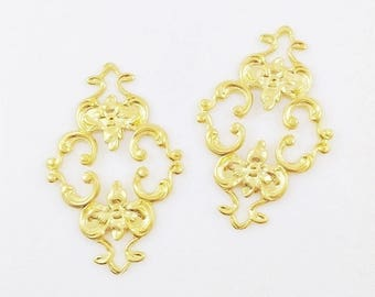 Gold Filigree, Brass Filigree, Diamond Filigree, Flower Connector, Brass Stamping, Cabochon Wrap, 23mm x 36mm- 2 pcs. (gd130)