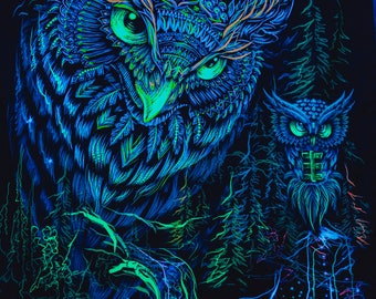 Psychedelic Blacklight Art Nature UV Fluorescent Glow Psytrip Psyart Backdrop Banner Trippy Visionary Tapestry Owl Wallhanging Tripvision