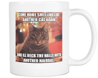 Another hairball cat meme double sided coffee mug 11 ounces
