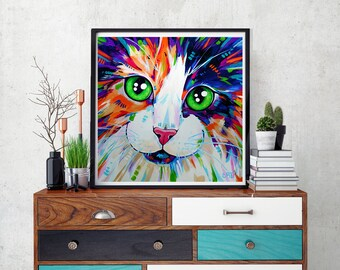 Calico cat art print, Cat wall art, Wall decor, Cat decor, Gift for cat lover, Cat home decor