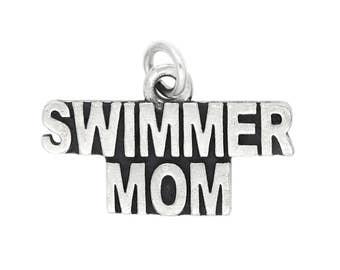 Sterling Silver Swimmer Mom Charm