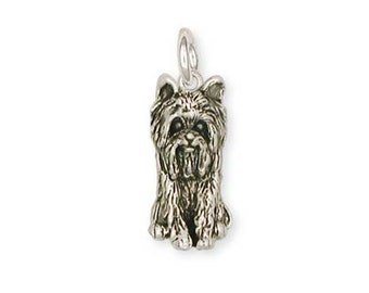 Solid Sterling Silver Yorkshire Terrier Yorkie Charm Jewelry  YK12-C