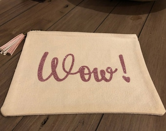 Cool and Sassy Wow! Canvas make up/accessories bag in pink glitter with handmade pink antique brass tassel