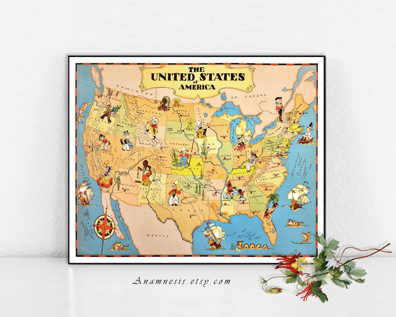 UNITED STATES Map Print Digital Download vintage US