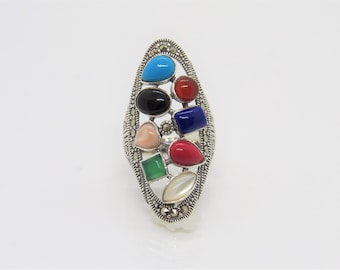 Vintage Sterling Silver Multi Color Gemstone & Marcasite Long Ring Size 8