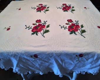 """Embrodiered 60"""" Round Tablecloth from Mexico"""