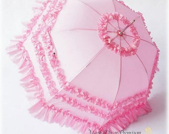 READY TO SHIP Medium Wedding Parasol Bridal Umbrella with Multi Layers of Gorgeous Fabric 1pc