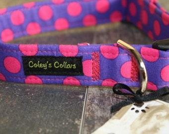 """Dog Collar, Polka Dot Dog Collar, Dog Collars, Female Dog Collar, Girl Dog Collar, Boy Dog Collar, Modern Dog Collar, """"The Polka in Purple"""""""