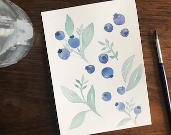 Original Watercolor Blueberry, Blueberries Painting, Kitchen Art