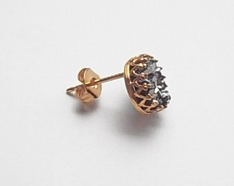 Faux Druzy Stud Earrings in Gold