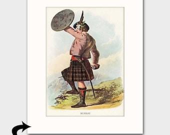 "Murray Family Art Print w/Mat (Scottish Gift for Fathers Day, Plaid Tartan, Sword & Shield) Matted Scotland Art --- ""Clan Murray"""