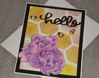 Hello Peony and Bee Greeting Card Handmade Flower All Occasion Birthday Card