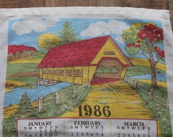 Vintage Cotton Tea Towel, 1986 Calendar, Covered Bridge, Calendar Tea Towel, 24 x 16
