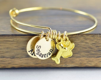 Personalized Bangle Bracelet - Hand Stamped Pet Bracelet - Dog Jewelry - Dog Bracelet - Pet jewelry - Animal bracelet - Paw Print Bracelet
