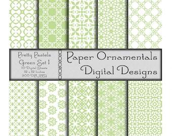 Instant Download, Commercial Use Digital Paper, Digital Scrapbook Paper 12 x 12, Printable Paper, Designer Paper Pattern, Pastel Green