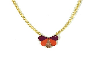 leather butterfly necklace cyclamen, coral and rose gold color