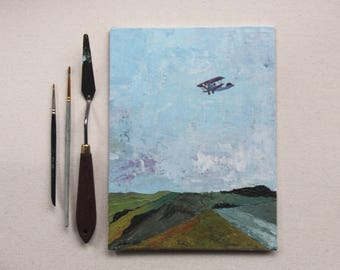 original airplane painting, acrylic, airplane over fields, aircraft wall art