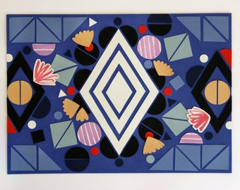 Original geometric collage art: diamonds and flowers and circles on blue