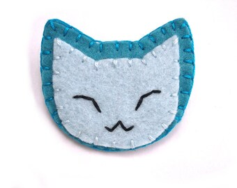 Blue cat button, kawaii blue kitty, cat backpack pin, pinback button, happy cat, fun jewelry