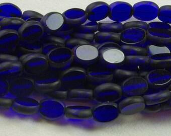 Cobalt Blue Oval Window Table Cut Picasso Czech Glass Beads Matte Edges 6x8mm - 25