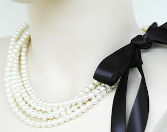 Set of 5 Chloe - Perfect Bridesmaid Necklace-Ivory Glass Pearls Necklace w/Ribbon Tie WEDDING JEWELRY Maid of HONOR