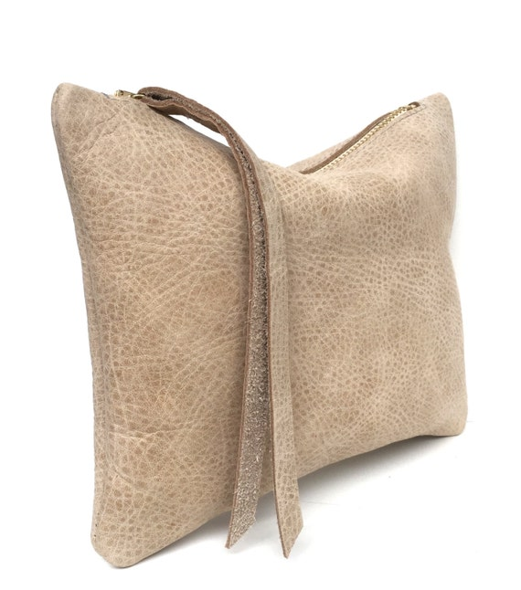 Leather pouch beige, leather purse, small leather bag