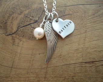 Loss Angel Wing Necklace with Name - Personalized Hand Stamped Necklace - In Loving Memory Necklace - Sympathy Gift - Loss of an Angel