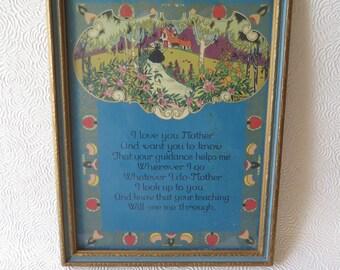 Mother Poem Motto Print Mother's Day Gift Blue Gilded Ornate Wooden Frame Art Nouveau Gilded Border 1920s