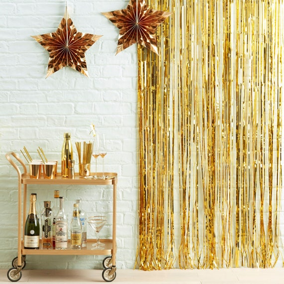 Gold Fringe Curtain Gold Wall Decoration Christmas