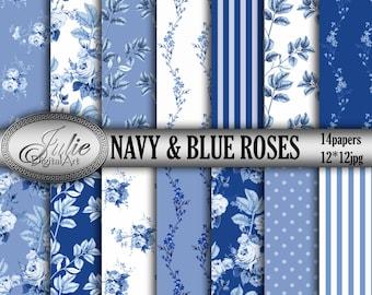 Floral digital paper Blue floral digital paper Navy and blue roses digital paper Leaf patterns White and blue background Navy floral pattern