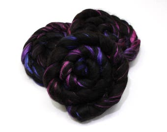Black Alpaca/ Tussah Silk (50/50) Roving - Hand Painted Roving for Spinning or Felting