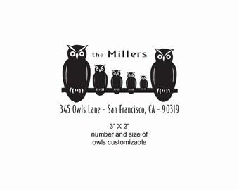 Owl Family Custom Return Address Rubber Stamp AD388