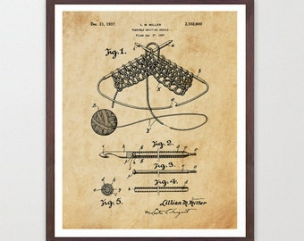 Knitting Needle Patent Poster - Knitting Patent - Knitting Art - Knitting Poster Knitting Wall Art - Knit Decor - Knit Art - Sewing - Yarn