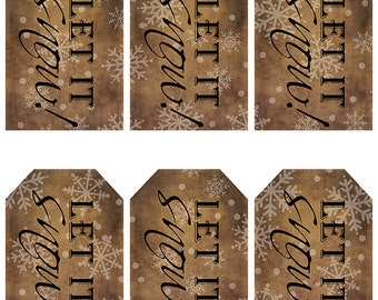 grungy tag set, craft supplies, primitive, hang tags, printables, scrapbooking - let it snow - white - digital PDF & jpeg - LSGT03