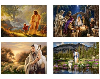 Jesus / Four Different Photos / Four (4)  - 5 x 7 / 5x7 GLOSSY Photo Pictures