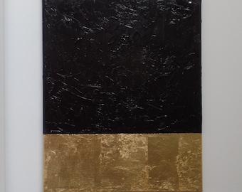 Black and gold Abstract decor Acrylic Painting, original art, Texture Gold leaf, Modern contemporary, wall art, home decor, interior design