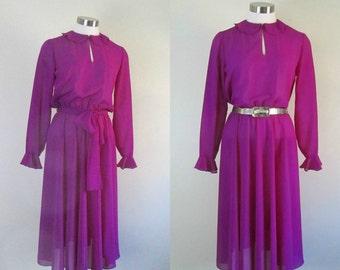 1970s Vintage Sheer Magenta Dress Sophisticated Feminine Flirt