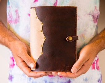 Refillable Personalised Leather Journal - Blend Moo/Roo Leather Sketchbook Journal - Refillable Leather Notebook Journal