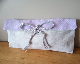 {Lilac} bag linen and cotton handmade (spring, flowers, romantic reversible, two-tone, lilac)
