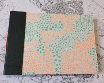 Handmade Landscape Patterned Watercolour Journal with Hard Cover and Contrasting Stitching