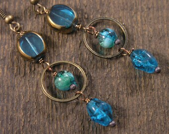 Turquoise blue vintage beads, czech glass and antique brass handmade earrings