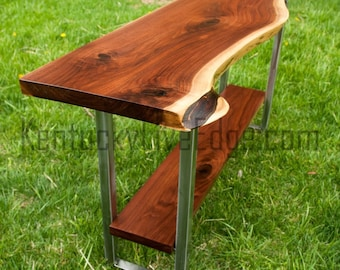 Live Edge Console Table With Shelf- Custom Made- Media Console Table- Rustic- Refined-  Industrial Console Table- Sofa Table- Modern Table