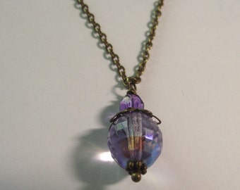 Large Purple Stone Necklace on Antique brass Chain Necklace