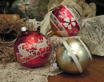 Three Vintage Mercury Glass Ornaments / Red White and Silver Round Christmas Ornaments
