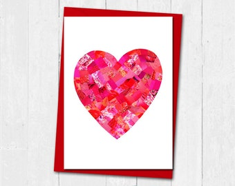 Love heart card, Anniversary engagement love heart card, I love you card, Personalised love heart card, Paper Collage art card, Love card