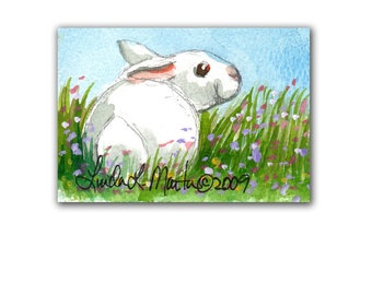 Baby Rabbit New Mom Spring by llmartin Original ACEO Watercolor Baby Nursery Free Shipping USA