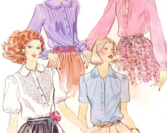 70s Womens Romantic Blouse with Transfer Vogue Sewing Pattern 1797 Size 10 Bust 32 1/2  Suit Blouse Pattern Vintage Vogue Sewing Patterns