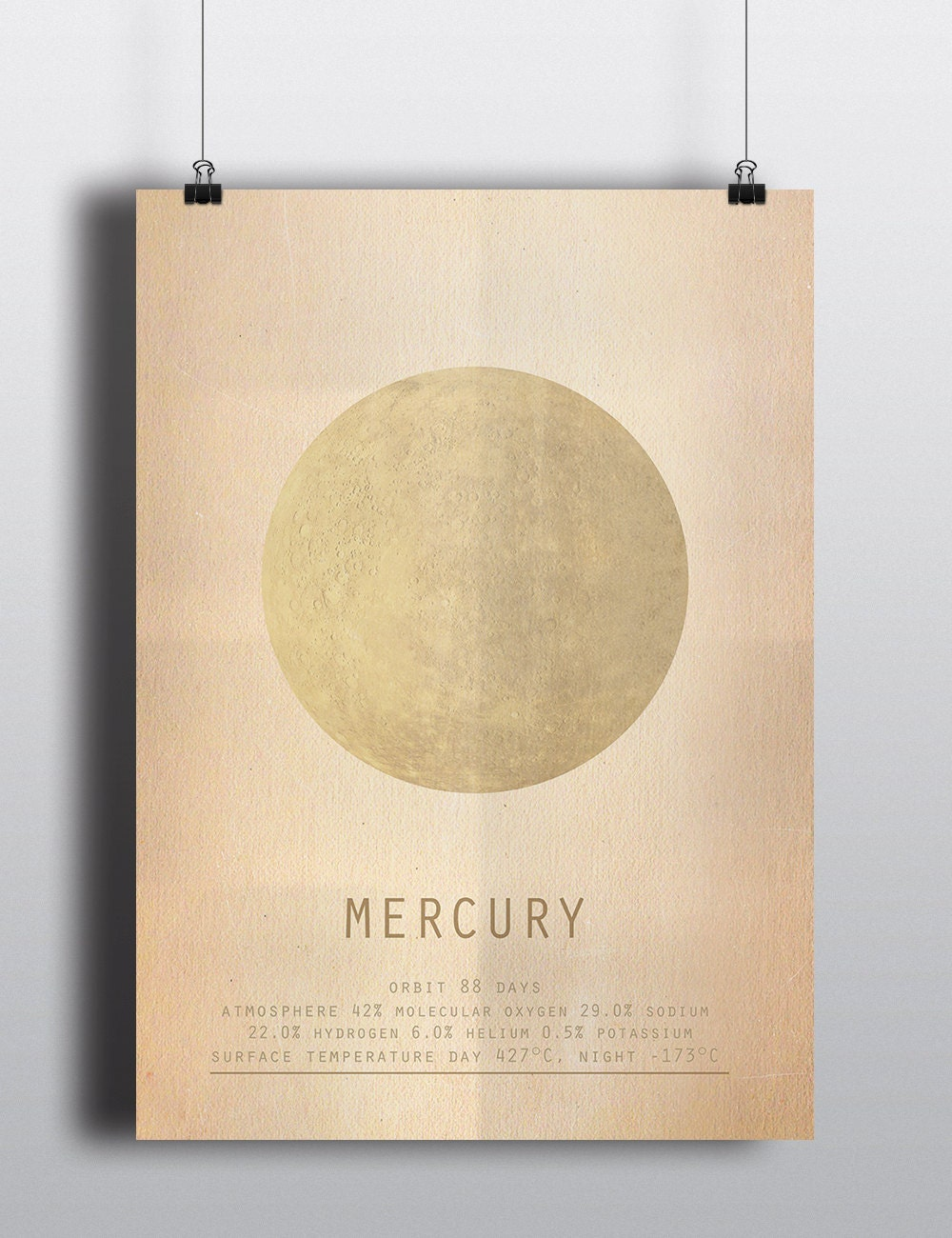 Mercury Science Poster Minimalist Planet print Home Decor
